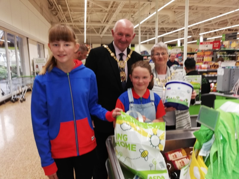 Asda Bag Pack with the Mayor and Mayoress of Harrogate District